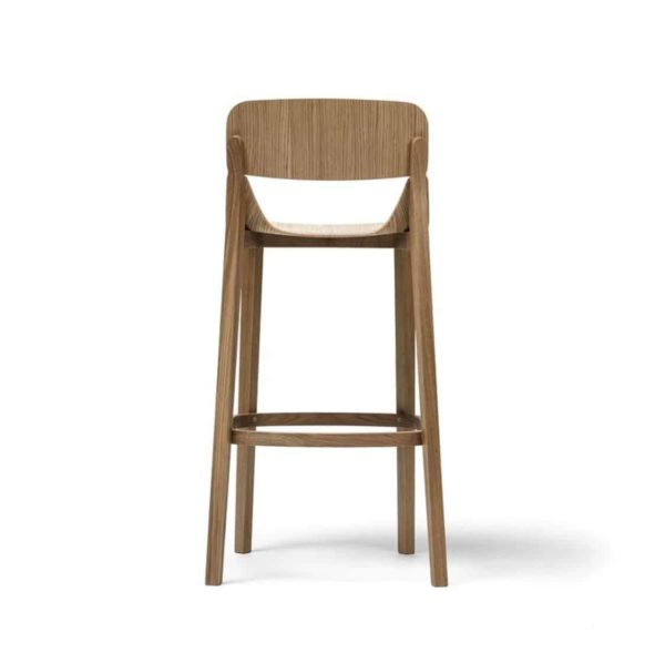 Leaf Bar Stool With Backrest Natual Wood Restaurant Chair Ton at DeFrae Contract Furniture Back View