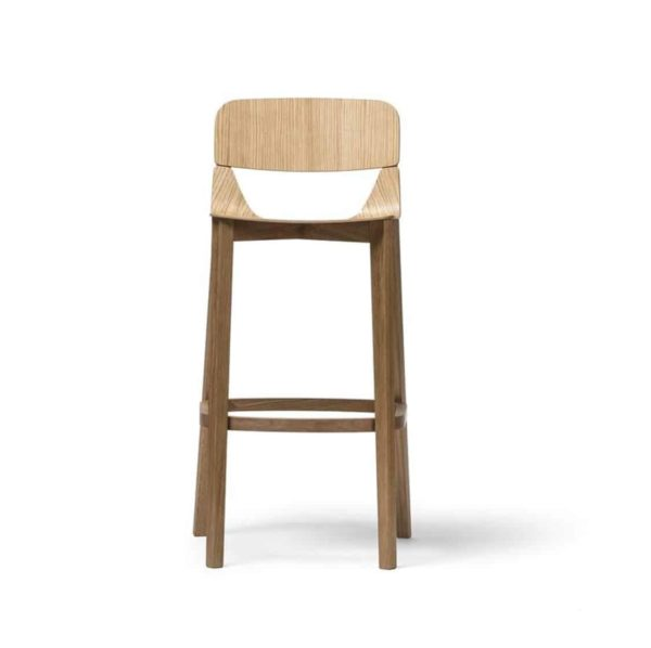 Leaf Bar Stool With Backrest Natual Wood Restaurant Chair Ton at DeFrae Contract Furniture Head on