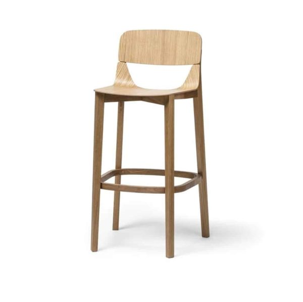 Leaf Bar Stool With Backrest Natual Wood Restaurant Chair Ton at DeFrae Contract Furniture Hero