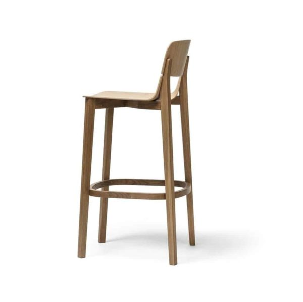 Leaf Bar Stool With Backrest Natual Wood Restaurant Chair Ton at DeFrae Contract Furniture Left Side View