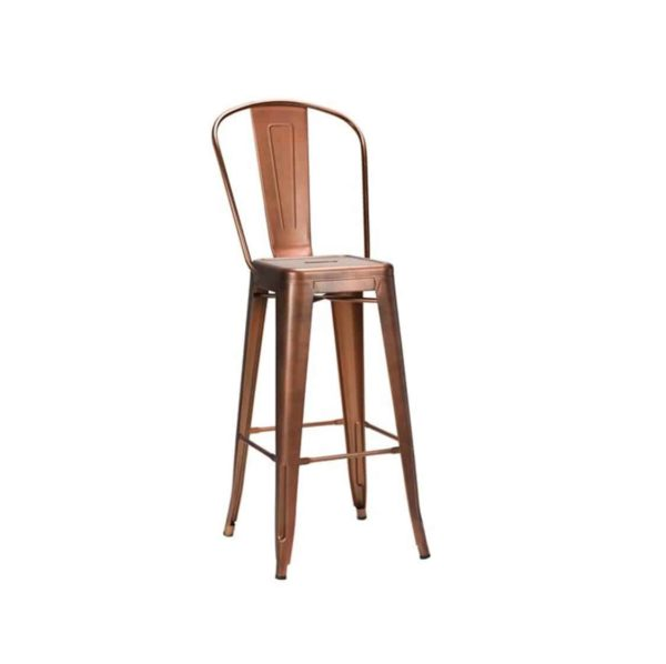 Leon high back bar stool Industrial French Bistro Tolix Copper