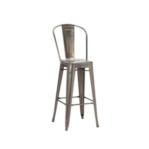 Leon high back bar stool Industrial French Bistro Tolix Gun Metal