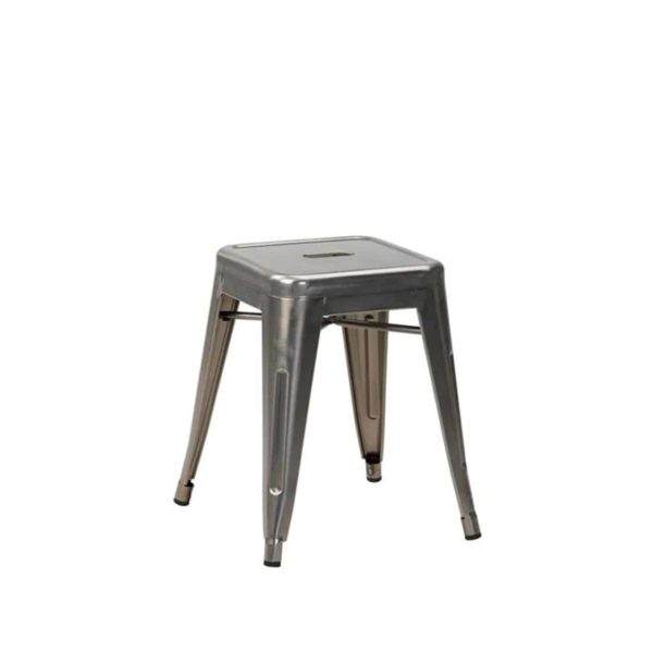 Leon low stool Industrial French Bistro Tolix A Gun Metal