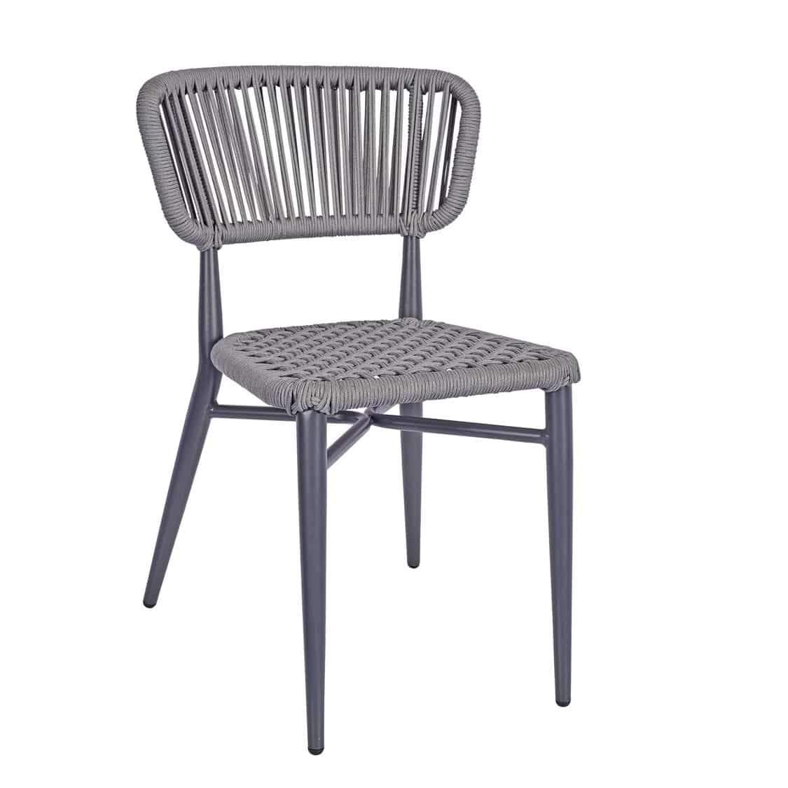 Madrid Side Chair DeFrae Contract Furniture Roped Back Grey
