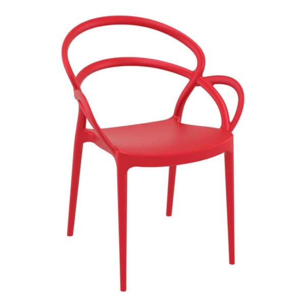 Milan armchair outdoor DeFrae Contract Furniture red