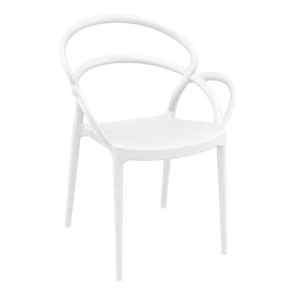 Milan armchair outdoor DeFrae Contract Furniture white