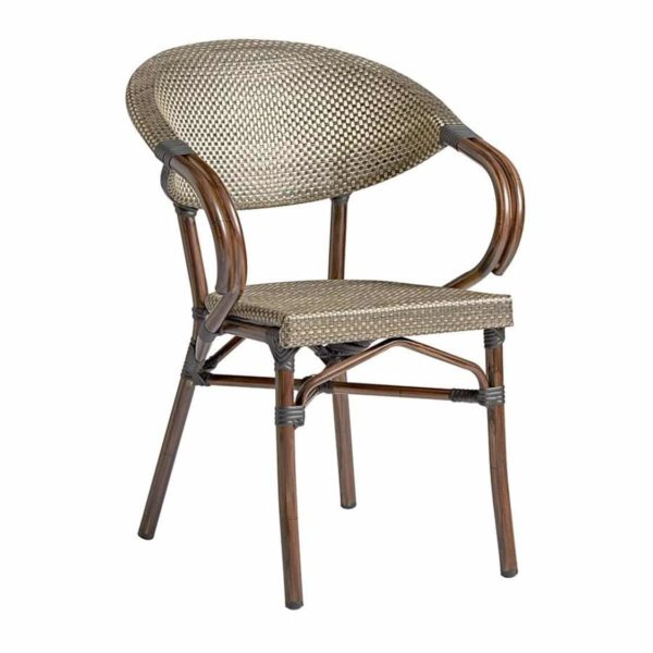 Panda French Bistro Style Ourside Chair DeFrae Contract Furniture Black and gold
