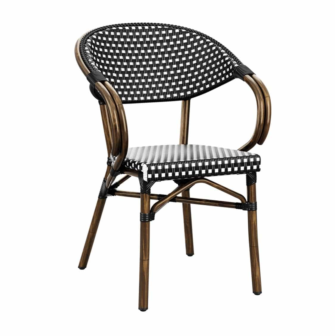 Panda French Bistro Style Ourside Chair DeFrae Contract Furniture Black and white