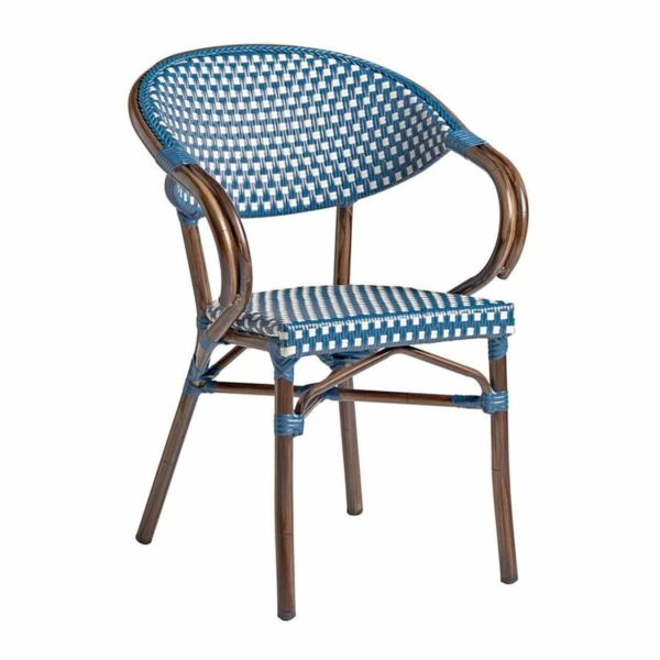 Panda French Bistro Style Ourside Chair DeFrae Contract Furniture Blue and white