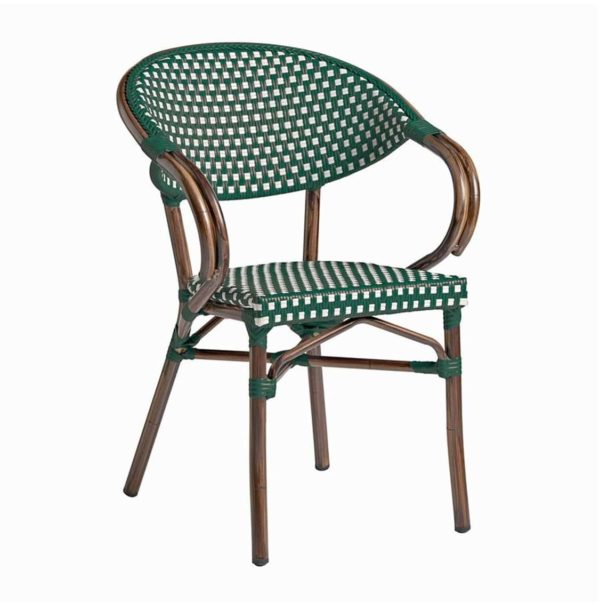 Panda French Bistro Style Ourside Chair DeFrae Contract Furniture Gren and white