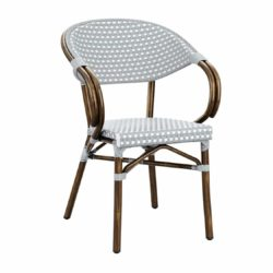 Panda French Bistro Style Ourside Chair DeFrae Contract Furniture white and pacific blue