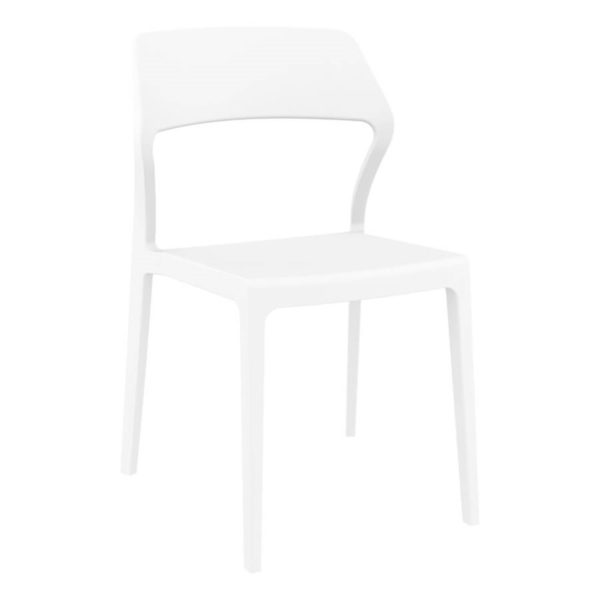 Snow Side Chair Outside DeFrae Contract Furniture White
