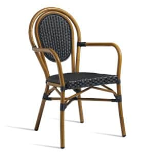 Time French Bistro Style Ourside Armchair DeFrae Contract Furniture Black