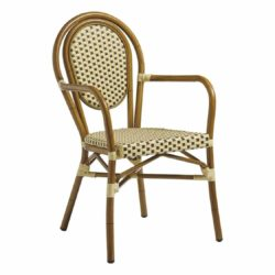 Time French Bistro Style Ourside Armchair DeFrae Contract Furniture Black and Cream