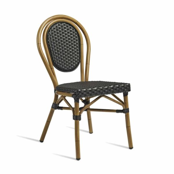 Time French Bistro Style Ourside Chair DeFrae Contract Furniture Black