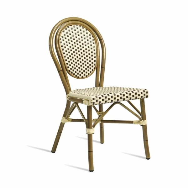 Time French Bistro Style Ourside Chair DeFrae Contract Furniture Black and Cream