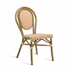Time French Bistro Style Ourside Chair DeFrae Contract Furniture Red and Cream