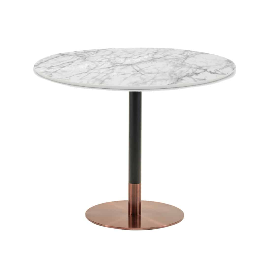 Zeus Table Base Rose Gold & Black DeFrae Contract Furniture with marble top