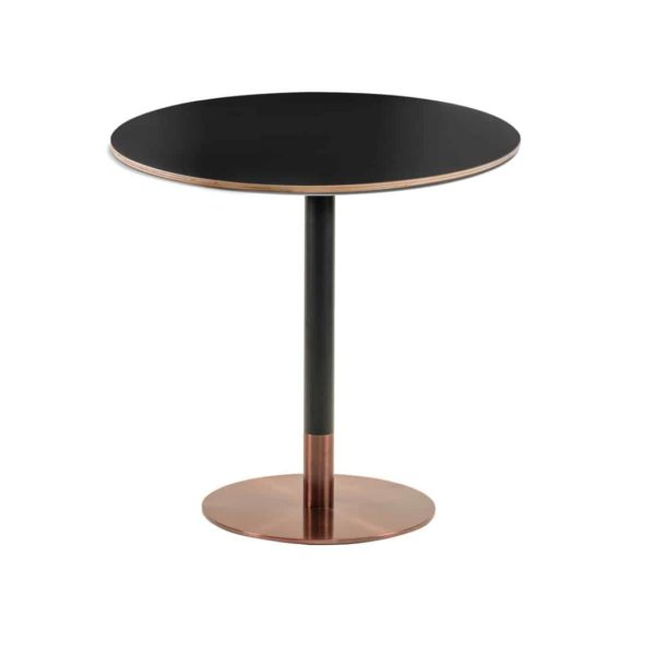 Zeus Table Base Rose Gold & Black DeFrae Contract Furniture with rose gold edging