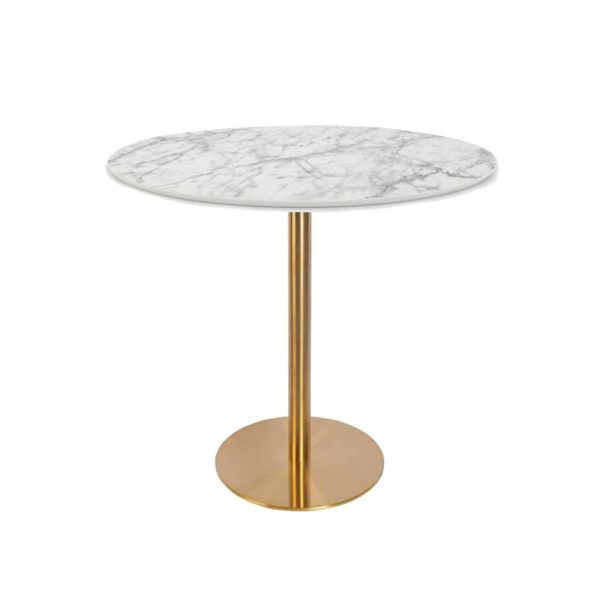 Zeus Table Base brass finish & Black DeFrae Contract Furniture with marble top