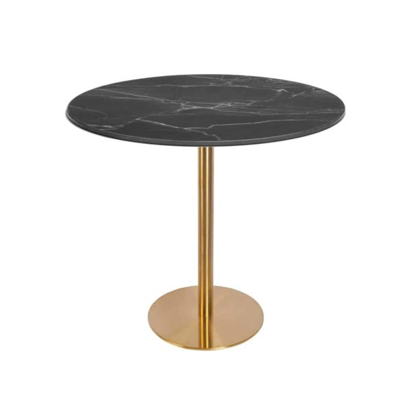 Zeus Table Base brass finish DeFrae Contract Furniture with black marble top