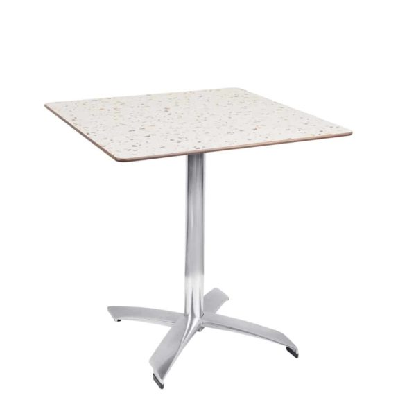 Braga Table base Taupe DeFrae Contract Furniture 700 Square Flip Top Terazzo Marble Compact Laminate Top