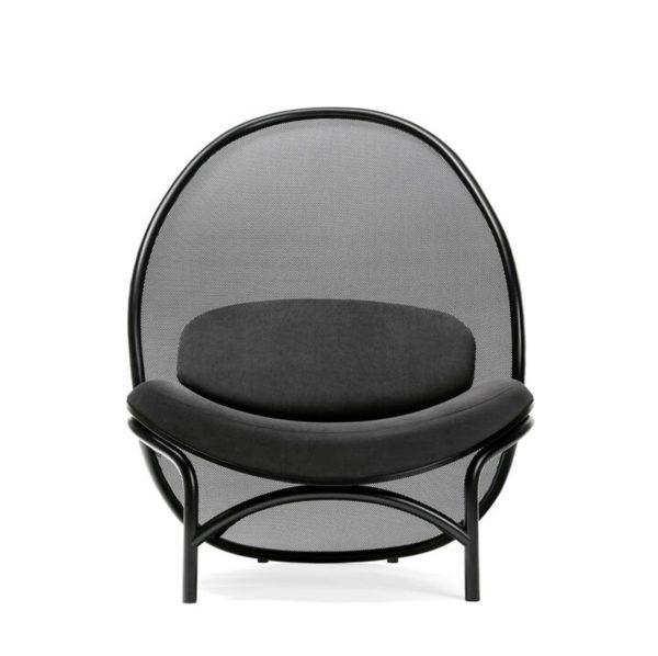 Chips Lounge Chair DeFrae Contract Furniture Black Front View