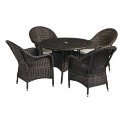Clova Outdoor Garden Set Armchair Lloyd Loom Style Rattan Outside DeFrae Contract Furniture Garden Set With Table