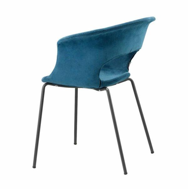 Miss B Pop Armchair DeFrae Contract Furniture Blue Velvet Side View