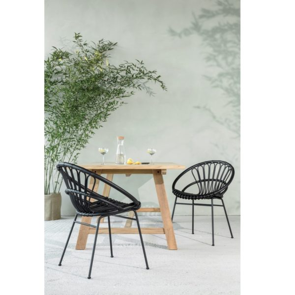Roxy Outdoor Dining Chair Vincent Sheppard at DeFrae Contract Furniture Black In Situ