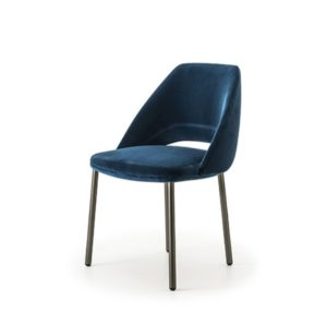 Vic 656 side chair from Pedrali at DeFrae Contract Furniture Blue Front Left