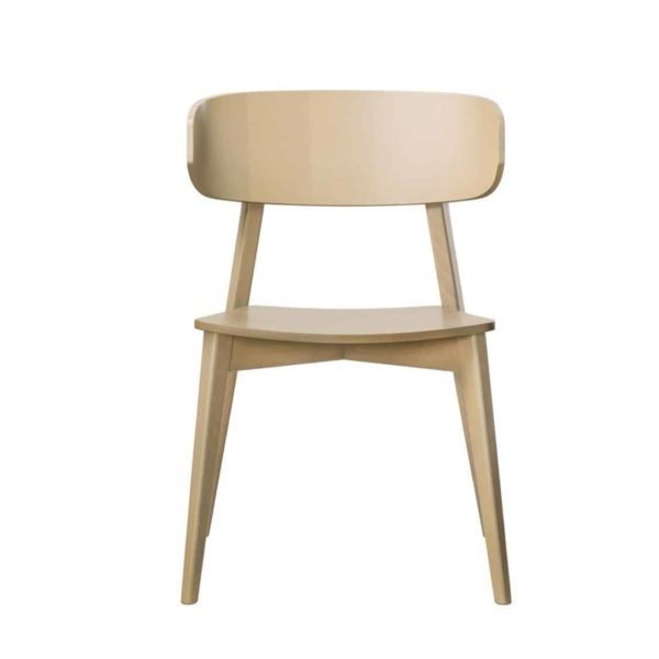 Hellen Plus SE01 Wooden Side Chair with curved back rest DeFrae Contract Furniture natural front view