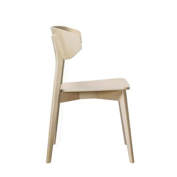 Hellen Plus SE01 Wooden Side Chair with curved back rest DeFrae Contract Furniture natural side view