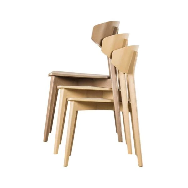 Hellen Plus SE01 Wooden Side Chair with curved back rest DeFrae Contract Furniture stackable