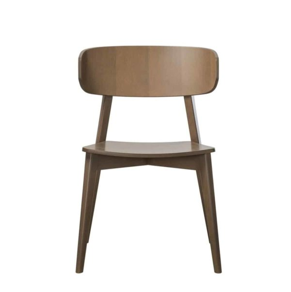 Hellen Plus SE01 Wooden Side Chair with curved back rest DeFrae Contract Furniture walnut front view