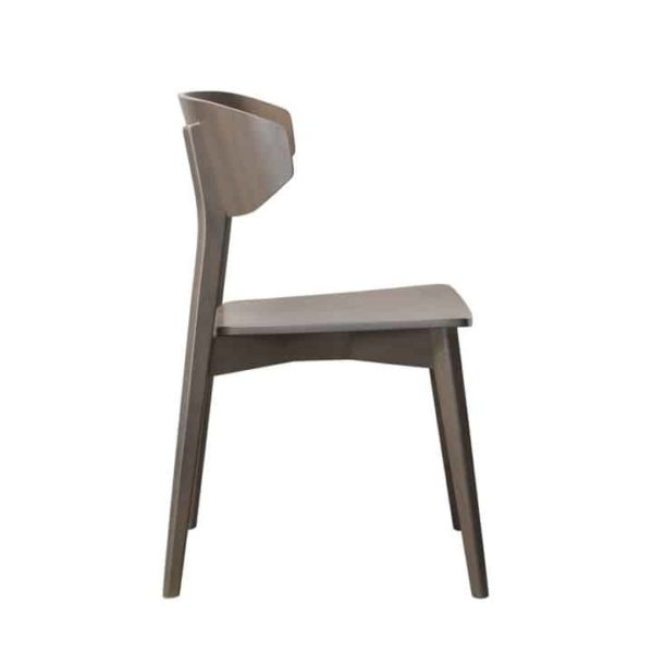 Hellen Plus SE01 Wooden Side Chair with curved back rest DeFrae Contract Furniture walnut side view