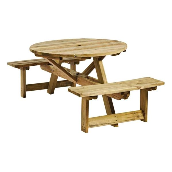 Picnic Tables 4 Seater Round DeFrae Contract Furniture Outside Furniture