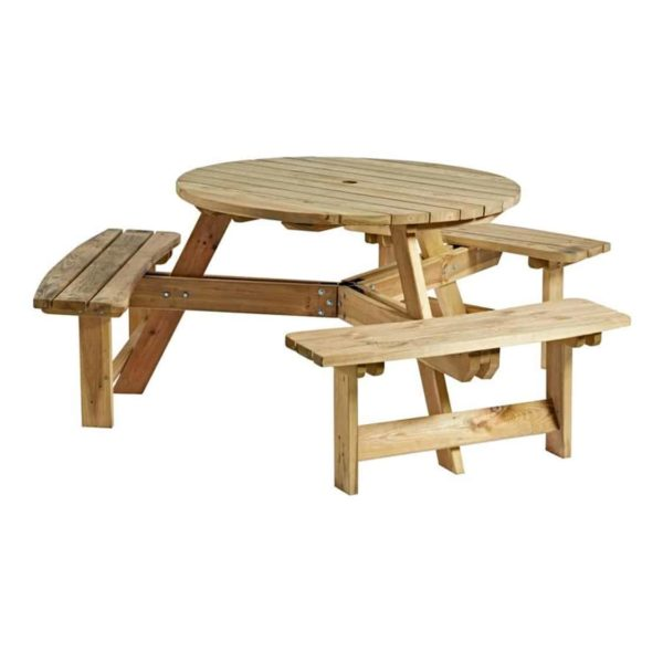 Picnic Tables 6 Seater Round DeFrae Contract Furniture Outside Furniture