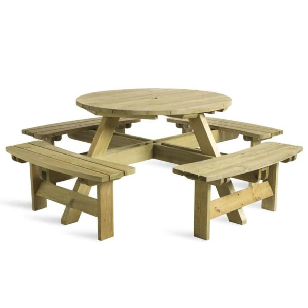 Picnic Tables 8 Seater Round DeFrae Contract Furniture Outside Furniture