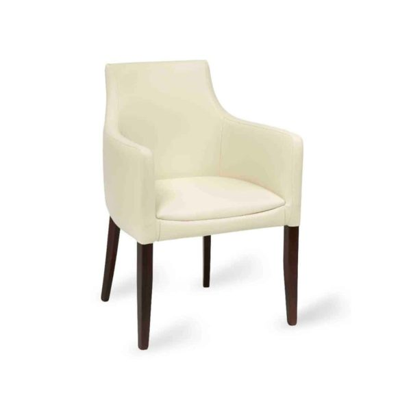 Repton Armchair DeFrae Contract Furniture Cream Ivory Faux Leather
