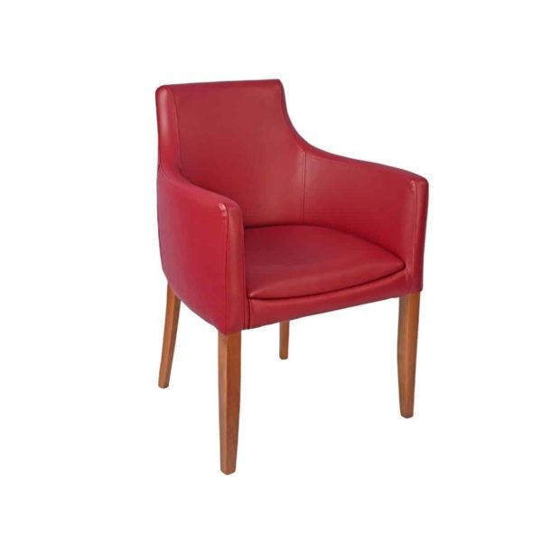 Repton Armchair DeFrae Contract Furniture Cream Red Wine Faux Leather