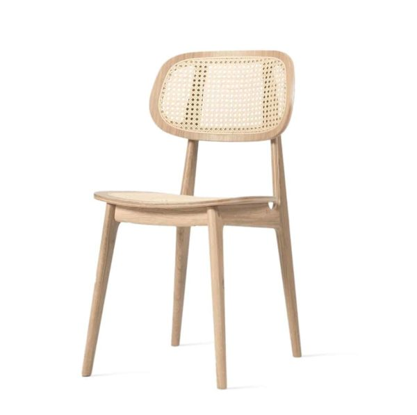 Titus dining chair Vincent Sheppard at DeFrae Contract Furniture natural frame and cane back rest side view