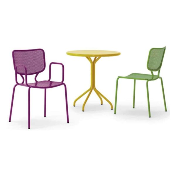 Aitra Side Chair Outside Use Stackable Green and Purple Armchair DeFrae Contract Furniture