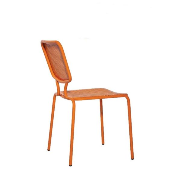 Aitra Side Chair Outside Use Stackable Orange DeFrae Contract Furniture Side View