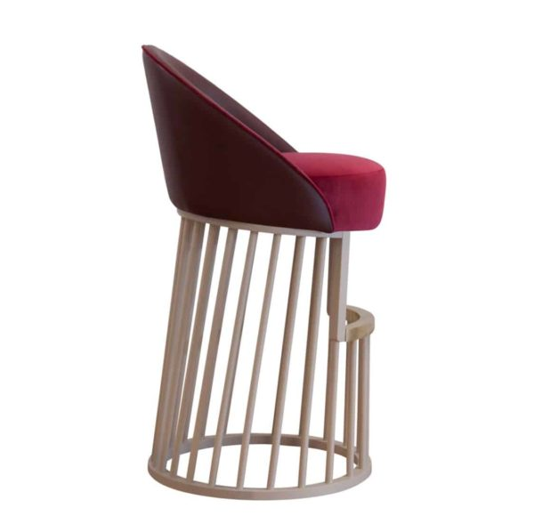 Beatrice Bar Stool Vertical Line Base DeFrae Contract Furniture Side View
