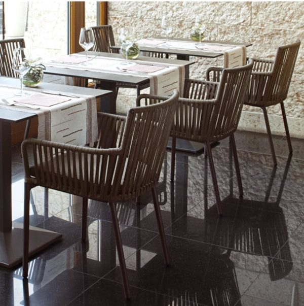 Meghan Armchair DeFrae Contract Furniture anthracite in situ inside