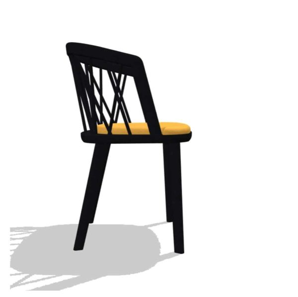Nature Armchair DeFrae Contract Furniture Spindle Back Wooden Armchair Black With Yellow Upholstered Seat