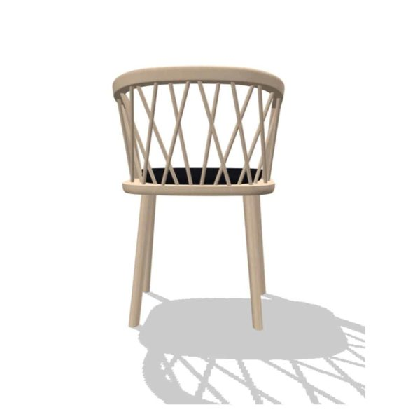 Nature Armchair DeFrae Contract Furniture Spindle Back Wooden Armchair Natural Upholstered Seat Back View