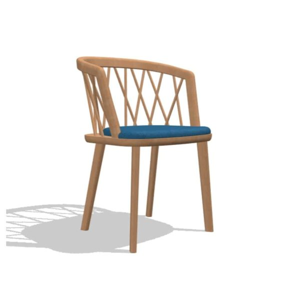 Nature Armchair DeFrae Contract Furniture Spindle Back Wooden Armchair Natural With Blue Upholstered Seat