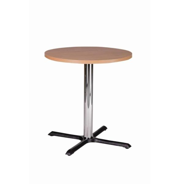 Shell Table Base Chrome fIron DeFrae Contract Furniture Coffee Height Oak Top